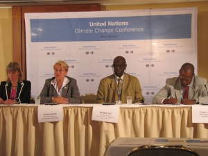 Ms Karin Lexen, Water and Climate Coalition, Dr Ania Grobicki, GWP Executive Secretary, Mr Bai-Mass Taal, AMCOW and Mr Simon Thuo, GWP Eastern Africa Regional Coordinator